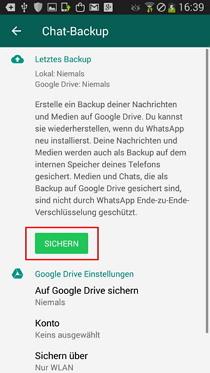 WhatsApp Backup für Android erstellen