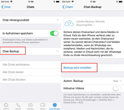 iPhone WhatsApp Backup erstellen