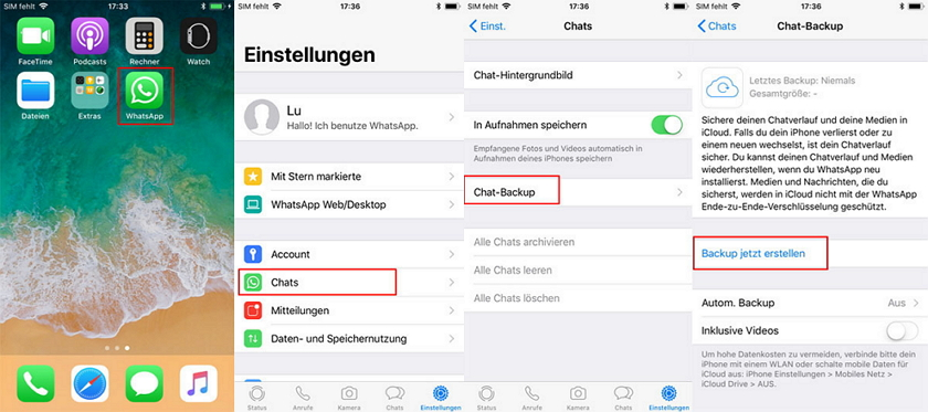 whatsapp-chats wiederherstellen - icloud sichern