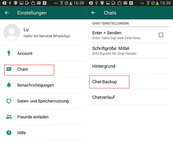 WhatsApp Nachrichten über Google Drive archivieren