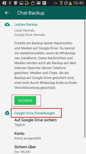 WhatsApp Chats über Google Drive sichern