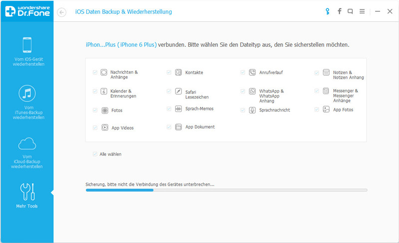 Wählen Sie den zu sichernden Dateityp