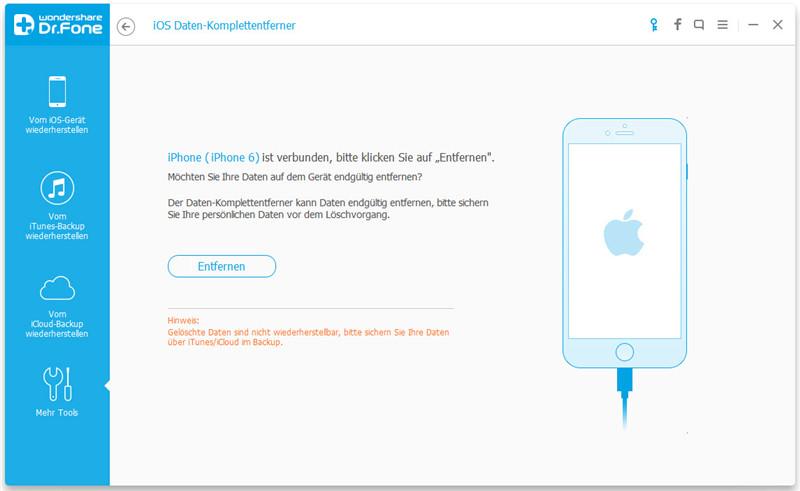 Teil 1. 1-Klick zur endgültigen Löschung sämtlicher Inhalte auf dem iPhone