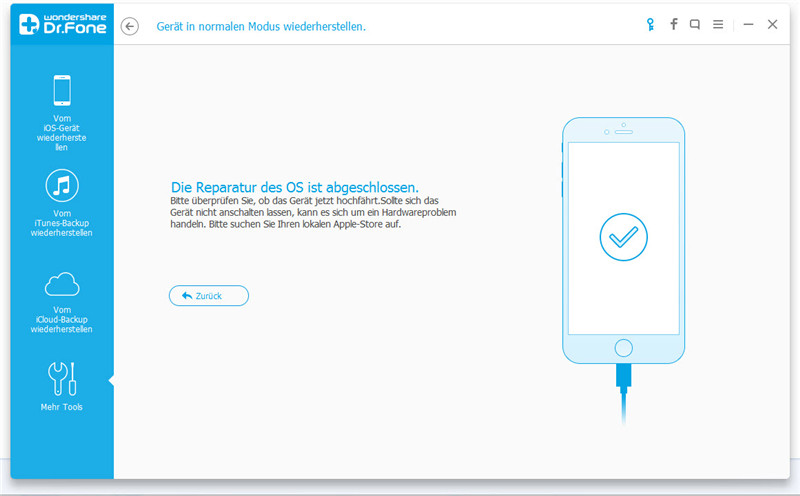 Wegen iOS 10-Update funktionsunfähiges iPhone reparieren