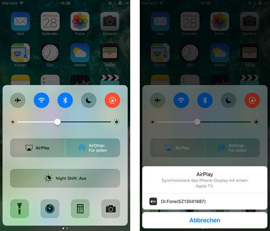 iPhone Bildschirm Spiegelung