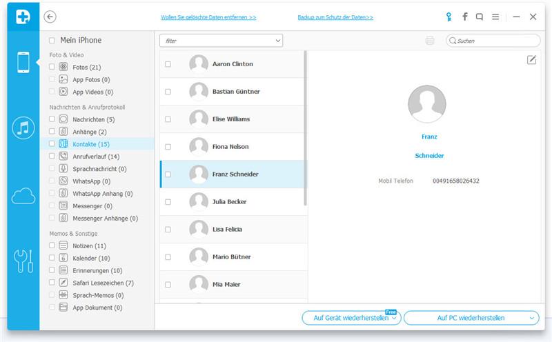 Wie man verlorene oder gelöschte iPhone-Kontakte wiederherstellt