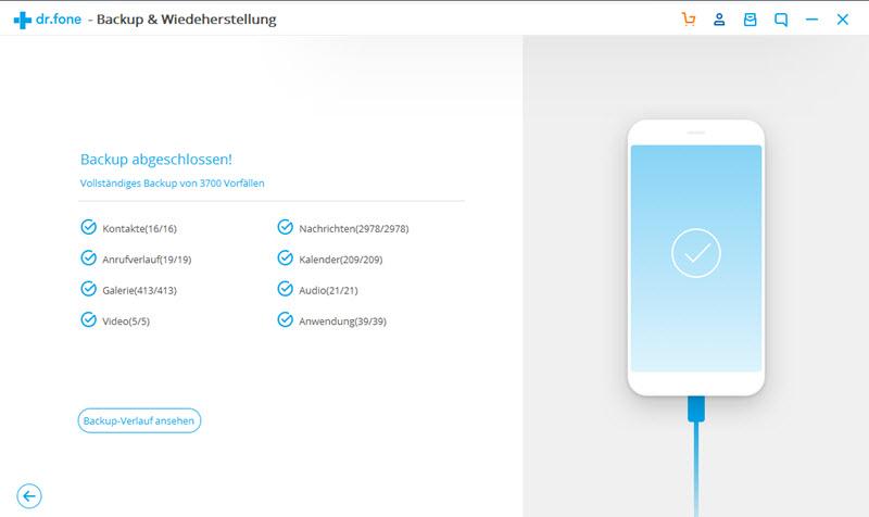 Erfolgreich, Android-Kontakte zu sichern
