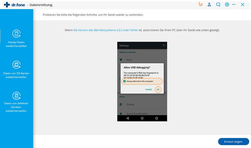 WhatsApp-Nachrichten von Android auf den PC übertragen - USB-Fehlerbehebung aktivieren