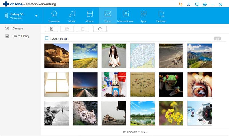 Samsungsicherung auf dem PC - Dateien auswählen