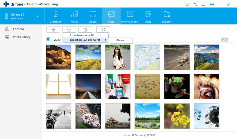 Samsung-Fotos auf das iPhone exportieren