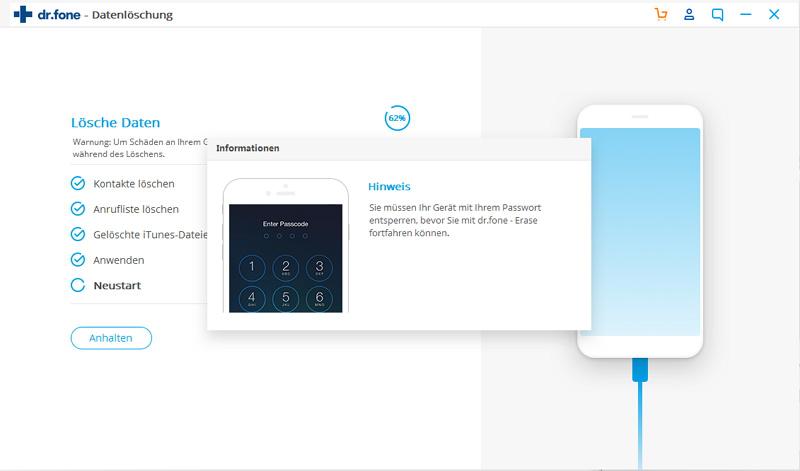 Geben Sie den iPhone-Passcode zur Fortführung des Löschvorgangs ein.