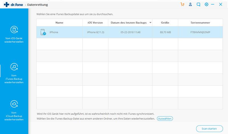 Dateien vom iTunes-Backup wiederherstellen
