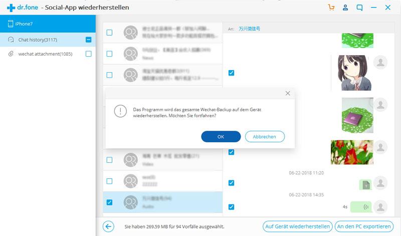 Hinweis zur Wiederherstellung von WeChat