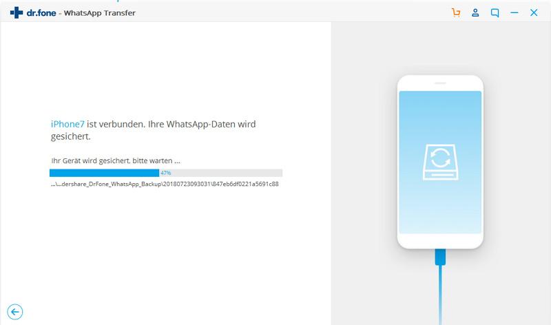 whatsapp nachrichten auf pc übertragen - Sicherung beginnt
