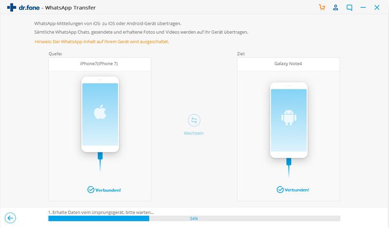 WhatsApp-Mitteilungen vom iPhone auf Samsung übertragen
