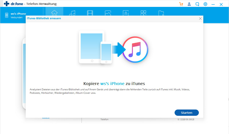 Wählen Sie iPhone-Musik, um sie mit iTunes zu synchronisieren.