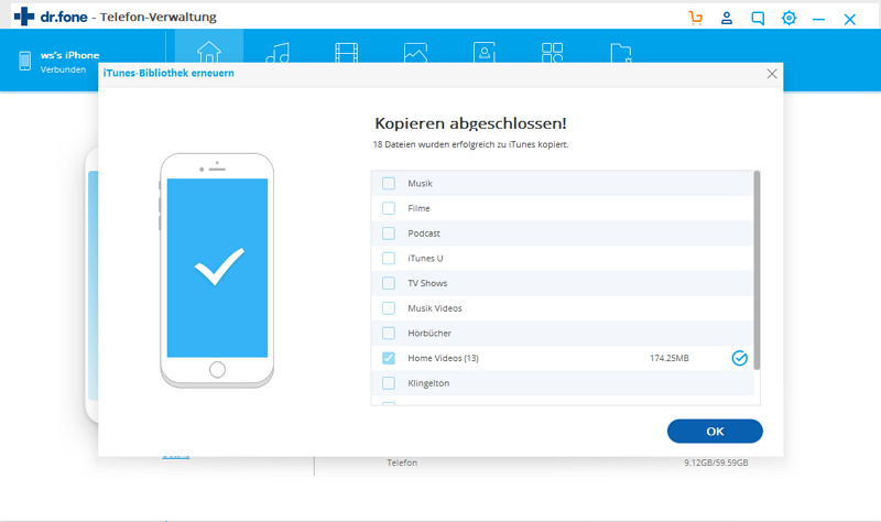 iPhone Mediendateien erfolgreich in iTunes übertragen