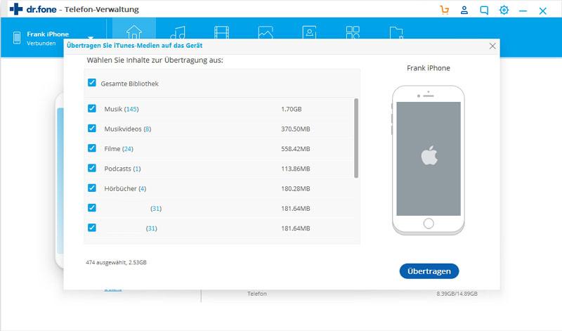 Mediendateien von iTunes auf iPhone/iPad/iPod übertragen