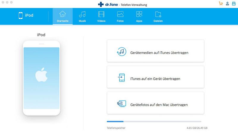 Musik vom Mac auf den iPod übertragen mit dr.fone - Telefon-Verwaltung (iOS)