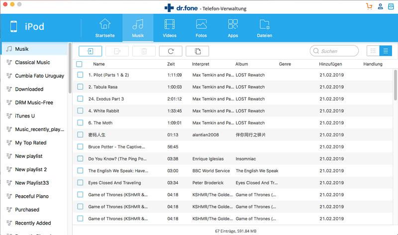 Musik vom Mac auf den iPod übertragen mit dr.fone - Telefon-Verwaltung (iOS)-Hinzufügen