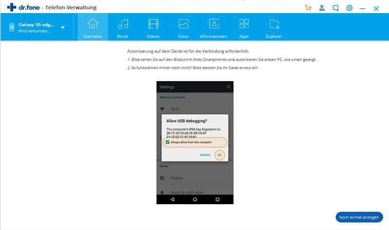 USB-Debugging auf Ihrem Android Gerät erlauben