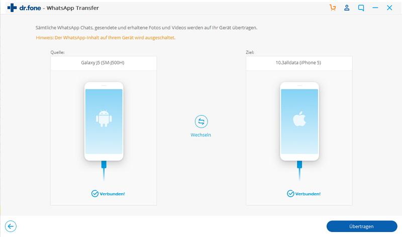 whatsapp android zu ios - mit dem Computer verbinden