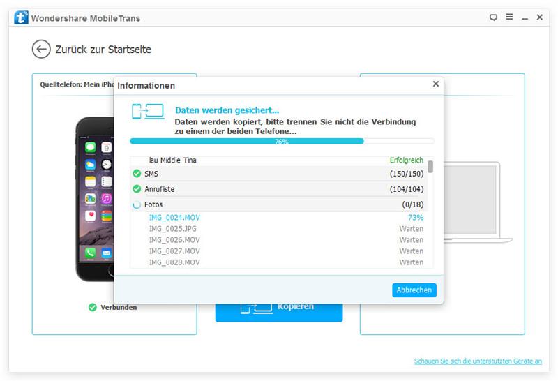 Android-Appdaten mit MobileTrans sichern