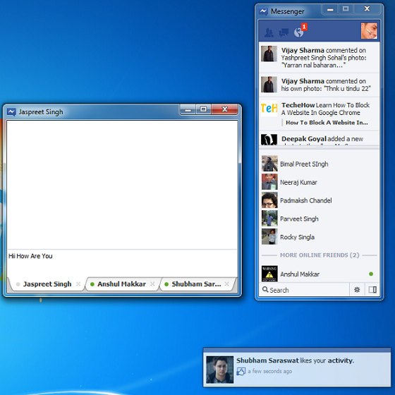 Facebook Messenger für Windows und die Alternative Facebook Chat @Desktop