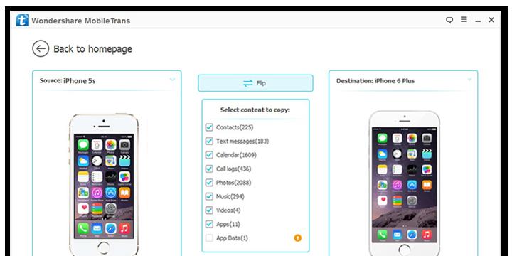 Transfert Samsung avec MobileTrans