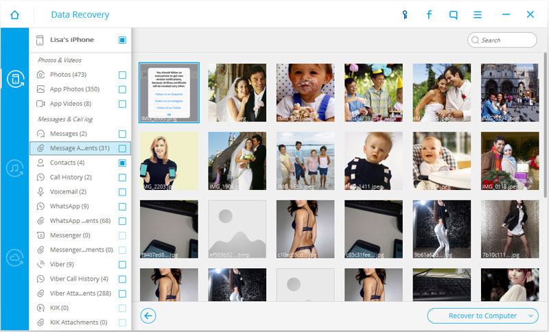 preview and recover deleted picture & messages