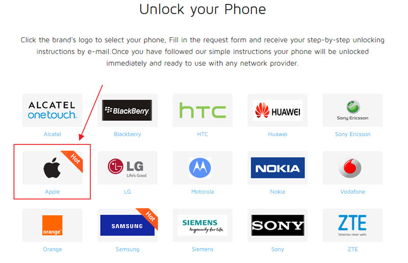select brand to unlock iPhone 5s