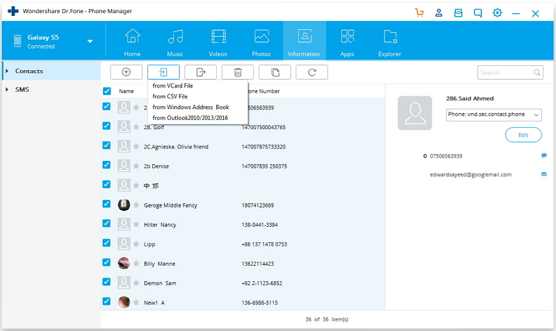contacts from outlook to android