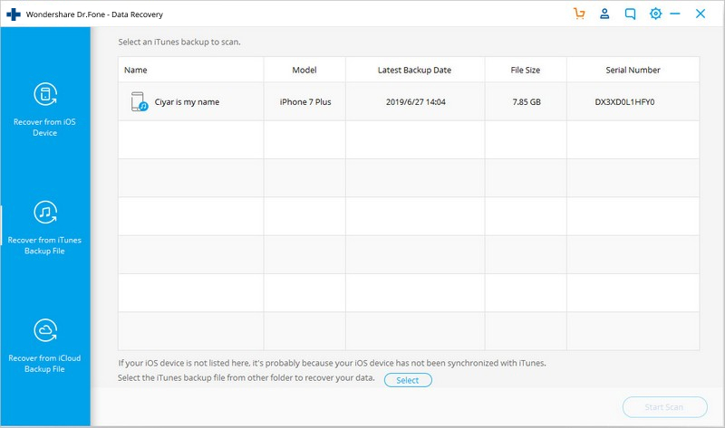 choose itunes backup recovery