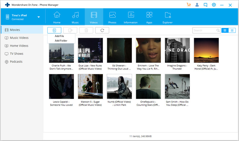 Transfer Videos to iPad without iTunes - Choose Movies Tab