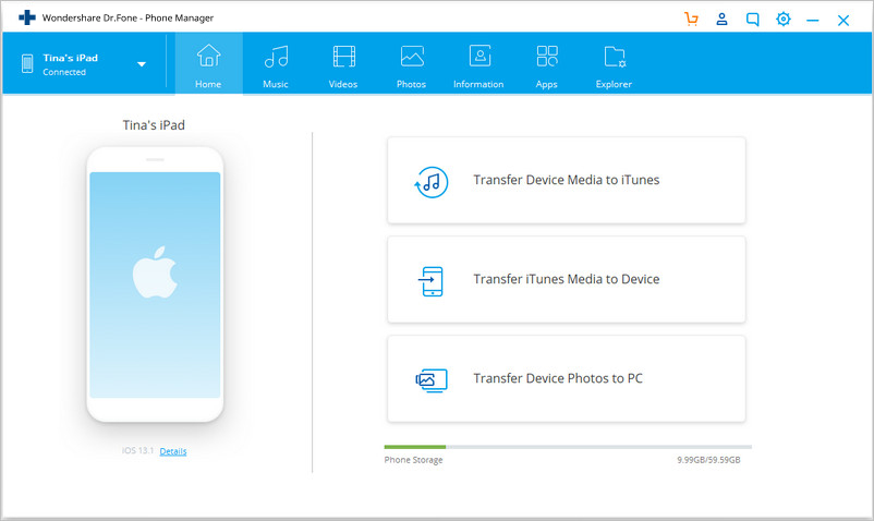 transfer files from pc to ipad without iTunes- Start PC to iPad Transfer