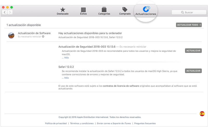 error 29 de iphone-presiona Actualizar