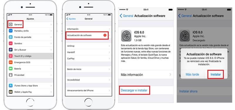 actualiza ios para reparar error 54 de iphone