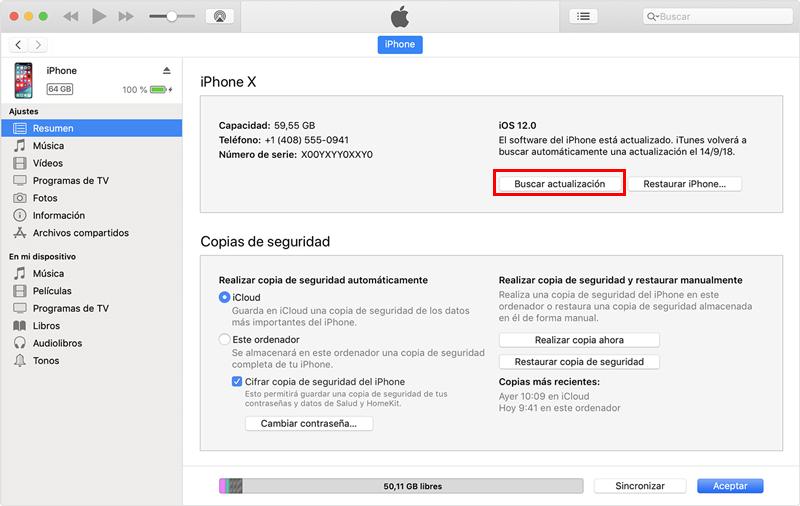 Buscar Actualizaciones en iTunes