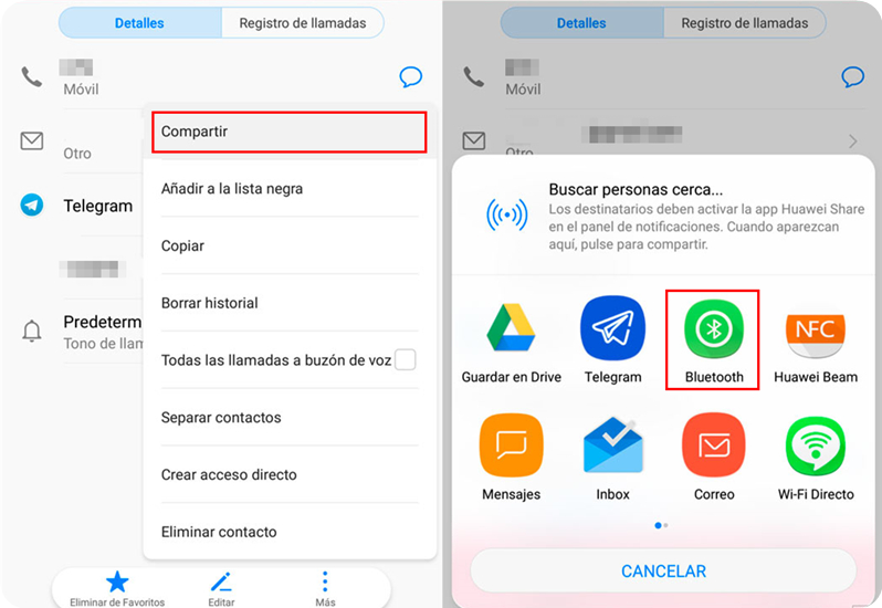 pasar los contactos via Bluetooth