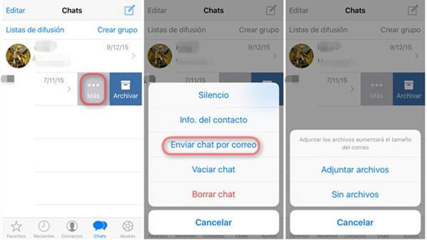 guardar mensajes de WhtasApp por email