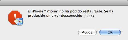 error 3014 de iTunes