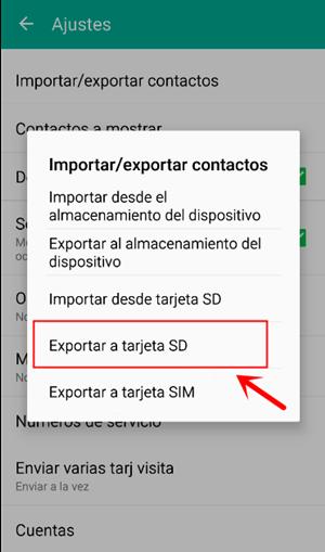 exportar contactos a la tarjeta SD