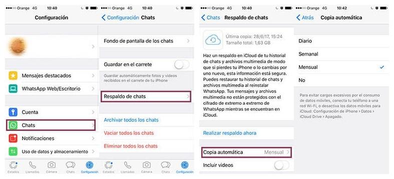 copiar mensajes y archivos de WhatsApp de un iOS a otro