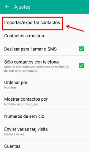 importar o exportar contactos de Android
