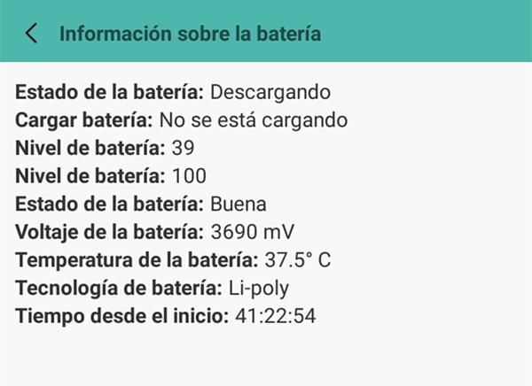 Información de la Batería de Android