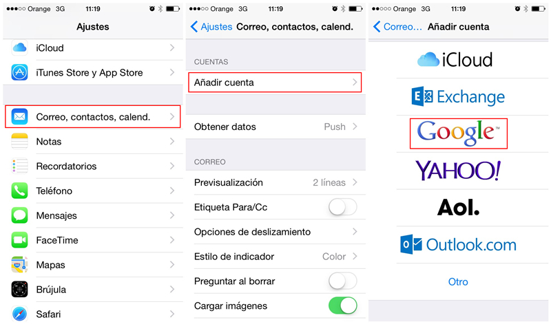 sincronizar contactos en iPhone con Google
