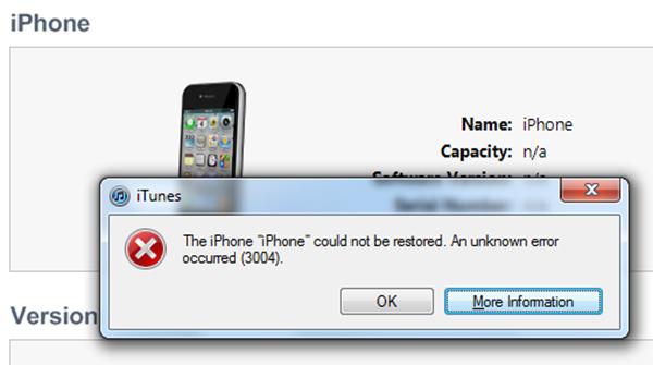 qué es el error 3004 de iTunes