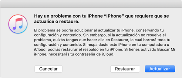 mode de recuperación de iPhone