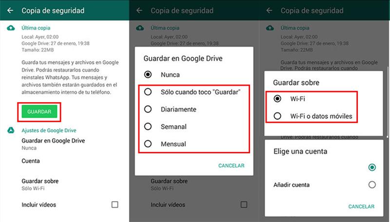 hacer copia de seguridad de Android en Google Drive