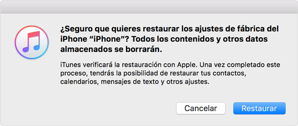 restaurar iOS con iTunes